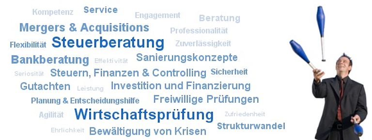 Our competencies: Tax advice, accounting and more. Foto des Jongleurs: © Orange Line Media - Fotolia.com